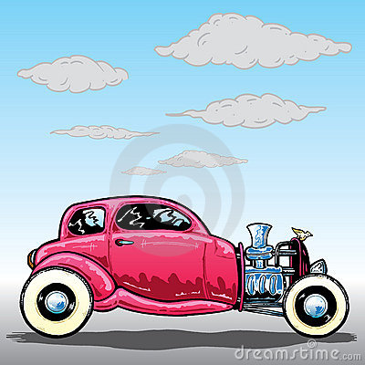 Retro style Hotrod car illustration