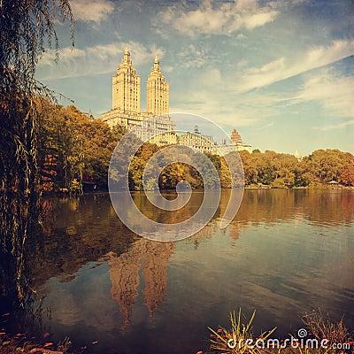 Retro style image of Central park, New York, NY.