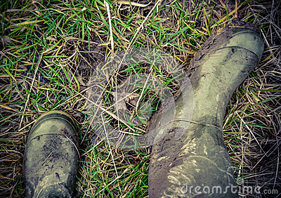 Retro Style Photo Of Rubber Boots