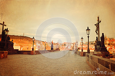 Retro style Prague view with Charles Bridge