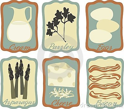 Retro style quiche breakfast framed icons
