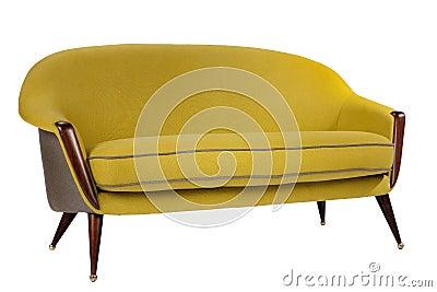 Retro Style Sofa Sixties Style Antique Mustard Yellow