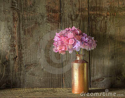 Retro style still life of dried flowers in vase