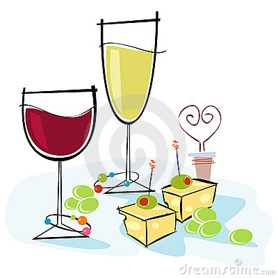 Free Retro-style Wine & Cheese Stock Photo - 4241520