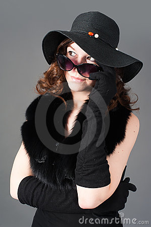 Retro style woman with glasses