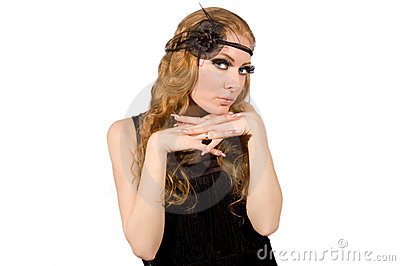 Retro style woman with long lashes