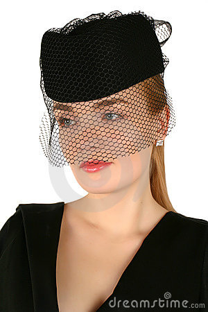Retro styled portrait of blond woman with veil