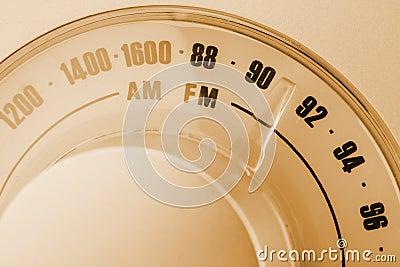 Retro-styled radio tuner dial