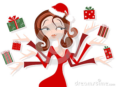 Retro Styled Woman Juggling Christmas Gifts