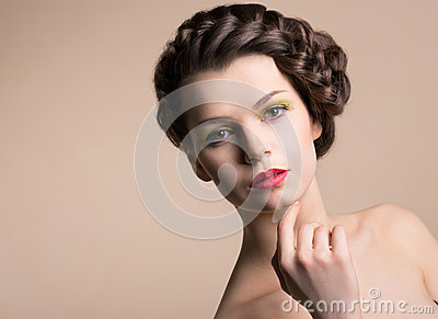 Retro Styling Woman with Brown Hair