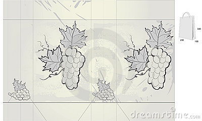 Retro stylized gift bag with grapes