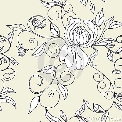 Retro stylized seamless wallpaper
