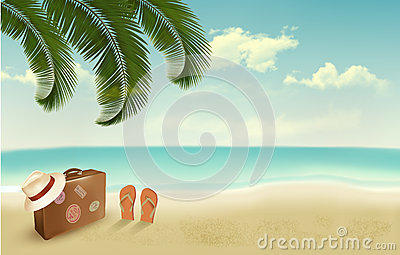 Retro summer vacation background.