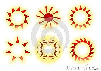 Retro sun icons