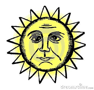 Retro Sun Illustration