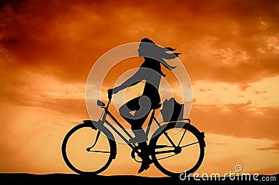 Retro Sunset Girl On A Bike