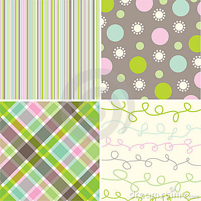 Free Retro Sweet Pink Green Pattern Royalty Free Stock Photo - 3023085