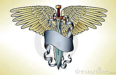 Retro sword banner tattoo