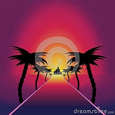 Retro synthwave retro design. Road to sunset Vector Illustration