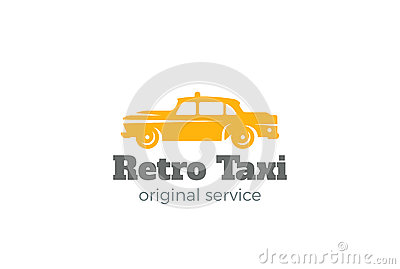 Retro Taxi Car Logo vector. Vintage Classic Vehicle Vector Illustration