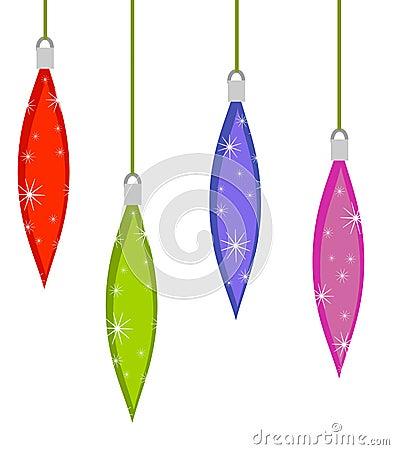 Retro Teardrop Xmas Ornaments