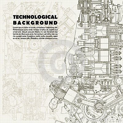 Free Retro  Technical Background, Drawing  Engine Stock Photography - 59891812