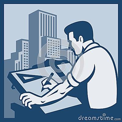 Retro teckning för arkitektbyggnadsritare