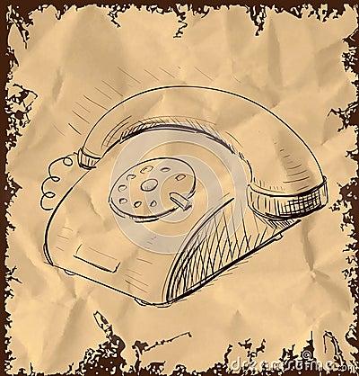 Retro telefon na rocznika tle