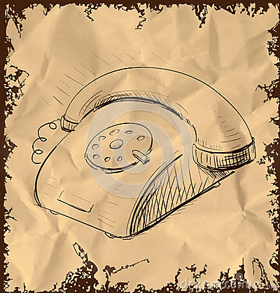 Retro telefono su fondo d annata