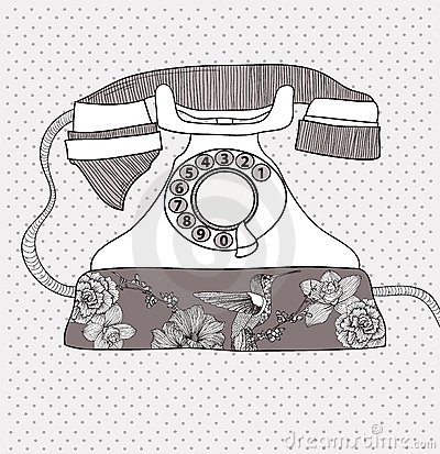 Retro telephone with flowers and birds pattern