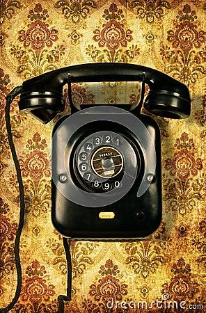 Free Retro Telephone On Vintage Wallpaper Royalty Free Stock Photos - 10218828
