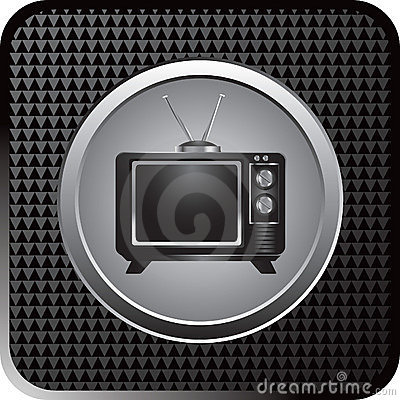 Retro television on black checkered web button