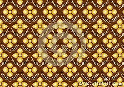 Retro Thai Flower Pattern on Brown Background