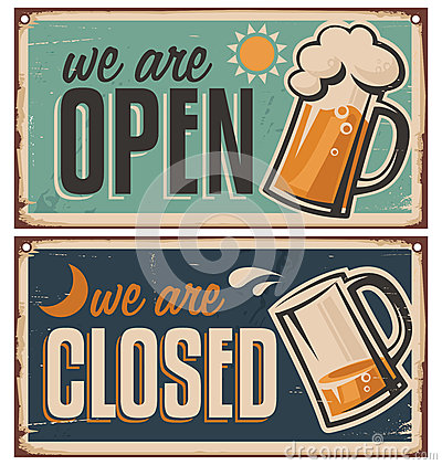 Free Retro Tin Door Signs Set For Pub Or Tavern Royalty Free Stock Image - 37113006