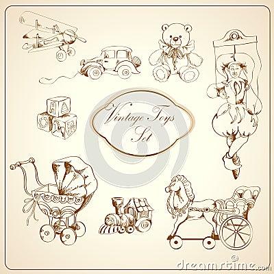 Free Retro Toys Drawn Icons Set Royalty Free Stock Photos - 39801008