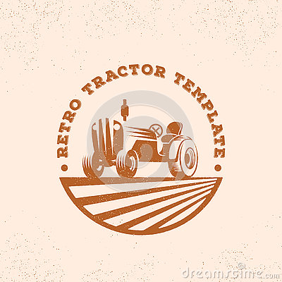 Free Retro Tractor Silhouette Vector Logo Or Emblem Template. Vintage Farm Sign With Typogrphy. Royalty Free Stock Images - 78011289