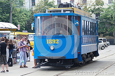 The retro a tram of 1892 goes in Kiev ,Ukraine . Editorial Stock Image
