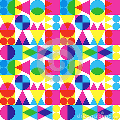 Retro transparent shapes pattern