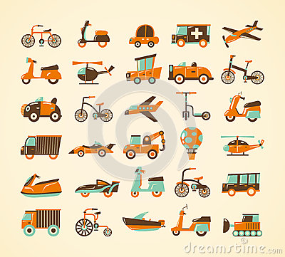 Free Retro Transport Icons Set Royalty Free Stock Photography - 29320677
