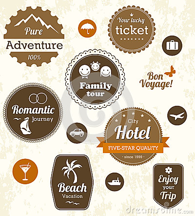 Retro travel labels