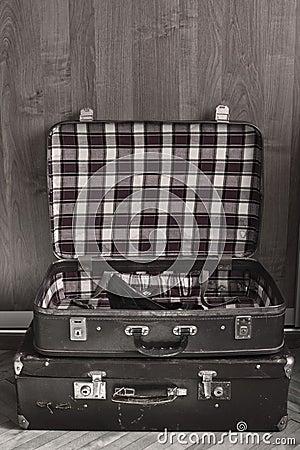 Retro travel suitcases