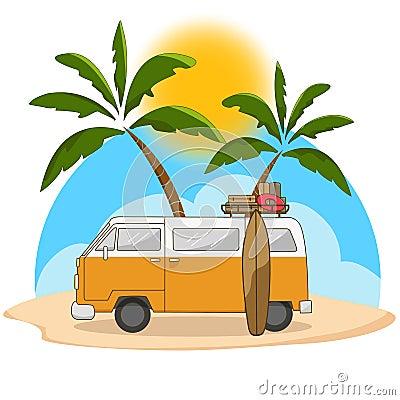 Retro travel van with surfing board Vector Illustration