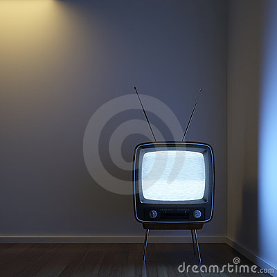 Retro TV alone in the corner