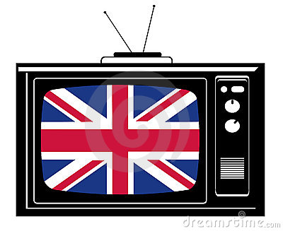 Retro Tv with flag of Great Br