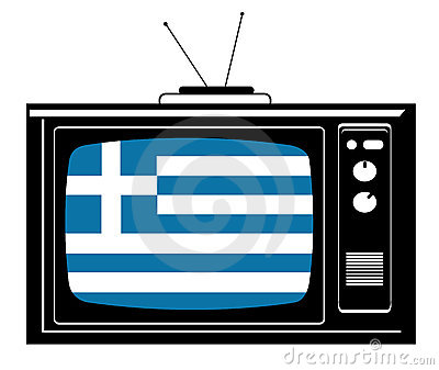 Retro Tv with flag of Greece
