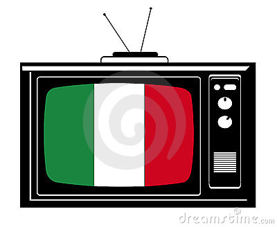 Retro Tv with flag of Italy