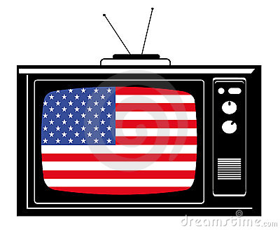 Retro Tv with flag of USA