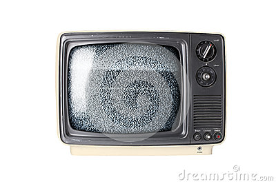 Retro TV set with static