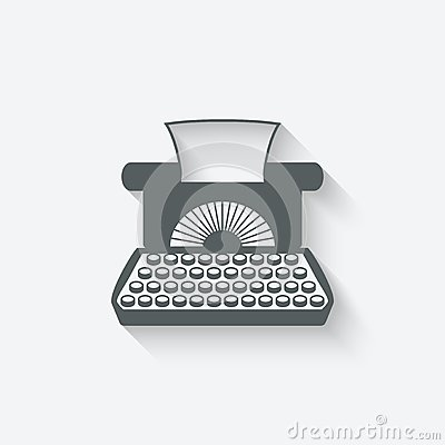 Retro typewriter design element