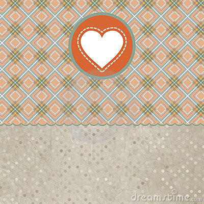 Retro valentine s day card with heart. EPS 8